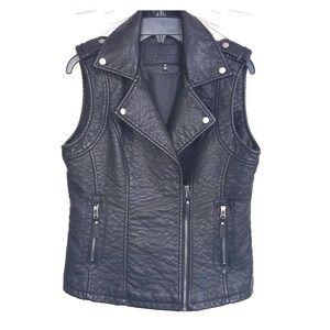 MSSP women faux leather moto biker vest M NWOT